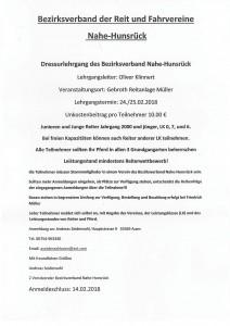 Dressurlehrgang vom Bezirksverband Nahe-Hunsrück